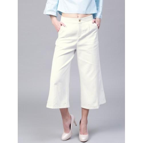 SASSAFRAS Women White Regular Fit Solid Culottes