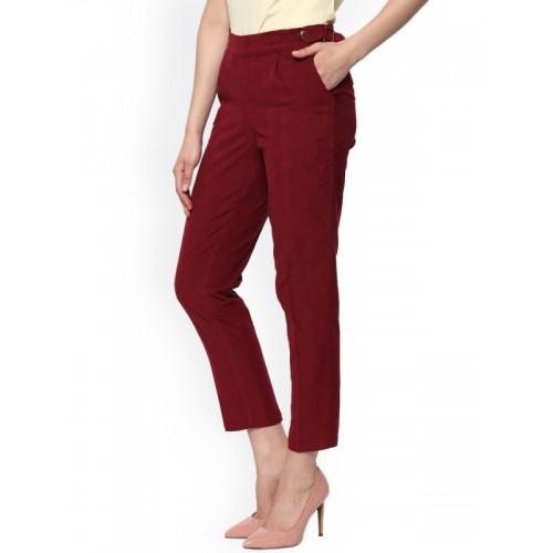 SASSAFRAS Women Maroon Pencil Slim Fit Corduroy Cigarette Trousers
