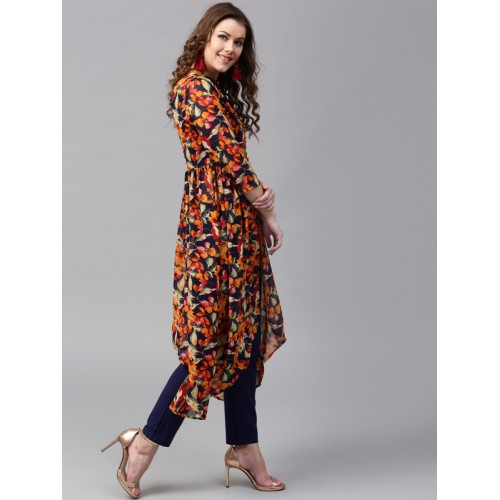SASSAFRAS Women Navy Blue & Orange Printed A-Line Kurta