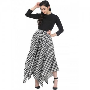 Nayo Women Black & White Solid Top with Checked Skirt