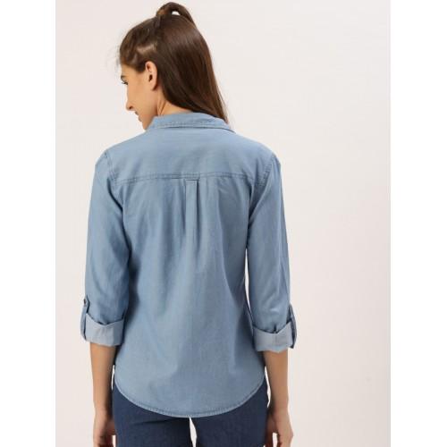 DressBerry Women Blue Regular Fit Solid Casual Shirt