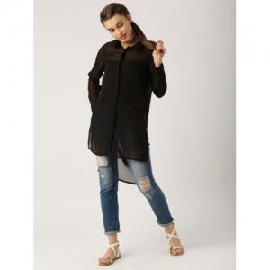 DressBerry Women Black Sheer High-Low Shirt