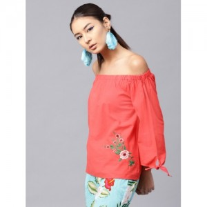 SASSAFRAS Women Coral Red Solid Bardot Top