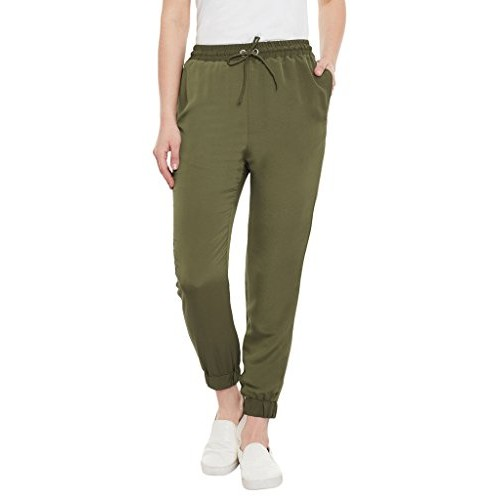 Miss Chase Womens Olive Green Straight Jogger Pants