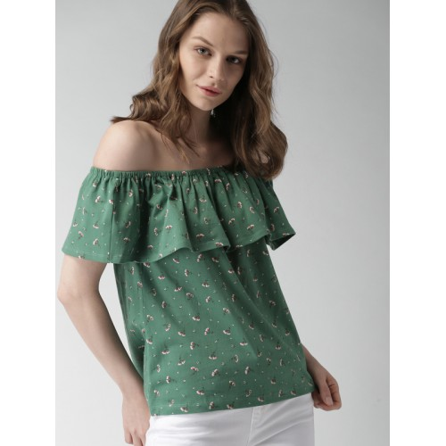 17dd053d0e400c ... Bardot Top  Mast   Harbour Women Green Cotton Printed Bardot ...