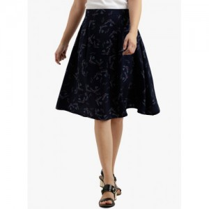 Miss Chase Navy Blue Printed Flared Skirt