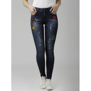 Miss Chase Navy Blue Mid-Rise Stretchable Jeans
