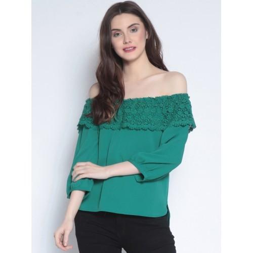 e71fbc1aec2d4 Buy Marie Claire Women Green Solid Bardot Top online