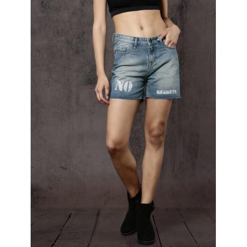 Roadster Women Blue Printed Regular Fit Denim Shorts