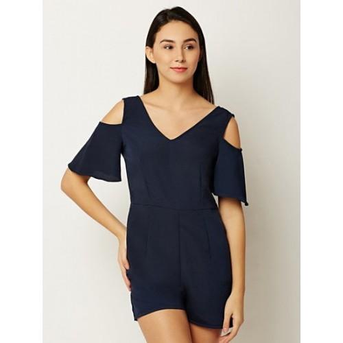 b264958c8477 Buy Miss Chase Navy Blue Solid Cold- Shoulder Playsuit online ...