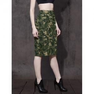 Roadster Olive Green Camouflage Printed Denim Pencil Skirt