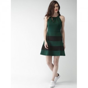 Mast & Harbour Women Teal Green Solid A-Line Dress