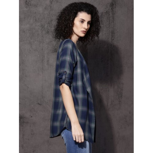 Roadster Green & Navy Checked Front-Open Shrug