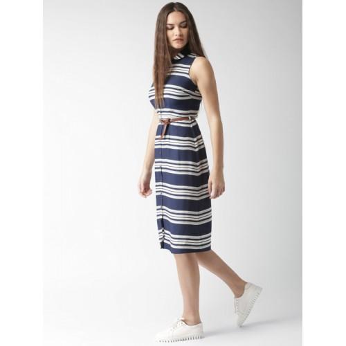 950d83fa00 Buy Mast   Harbour Women Navy Blue   white Striped Shirt Dress ...