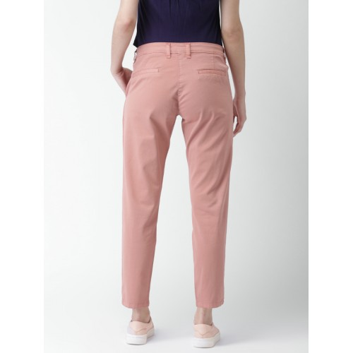 Mast & Harbour Women Pink Slim Fit Solid Chinos