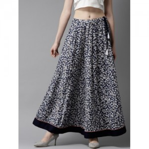 HERE&NOW Navy Blue & White Floral Print Maxi Flared Skirt
