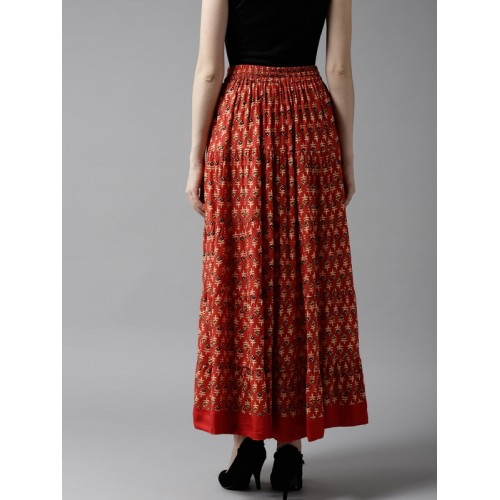 HERE&NOW Women Red & Beige Printed Maxi Tiered Skirt