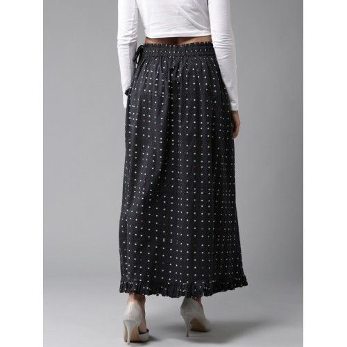 HERE&NOW Navy Blue Printed Maxi Skirt