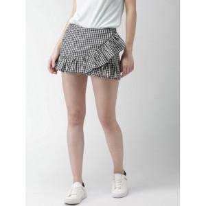 Mast & Harbour Women Black & White Checked Layered Skirt