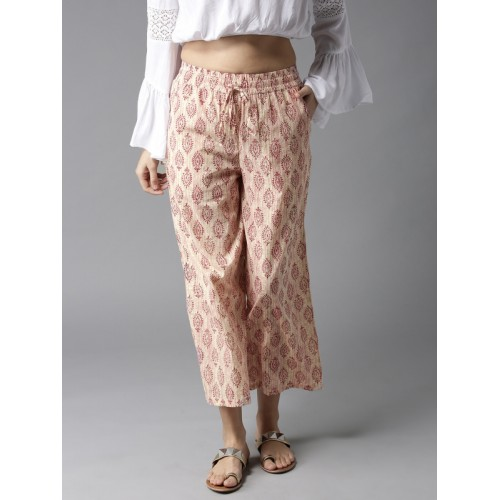 HERE&NOW Women Off-White & Pink Printed Wide Leg Cropped Palazzos