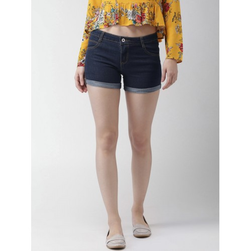 5ccdd7b43 Buy Mast & Harbour Women Blue Solid Regular Fit Denim Shorts online ...