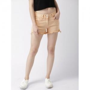 Mast & Harbour Women Peach Solid Regular Fit Denim Shorts