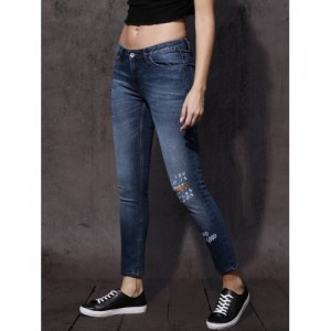 Roadster Women Blue Skinny Fit Mid-Rise Clean Look Stretchable Printed Jeans
