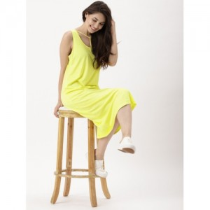 DressBerry Women Yellow Solid A-Line Dress