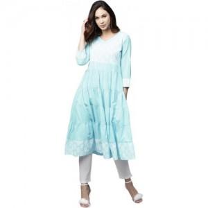 Aks Women's Self Design Flared Kurta(Blue)