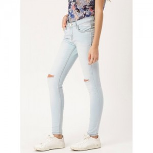 Dressberry Blue Solid Mid Rise Skinny Fit Jeans