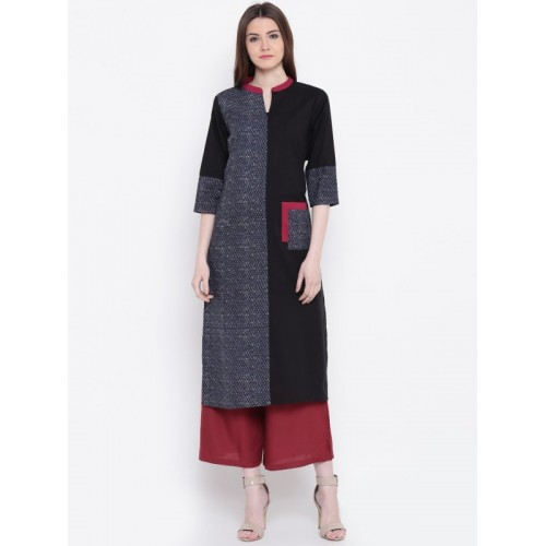 Shree Women Printed Straight Kurta(Black)