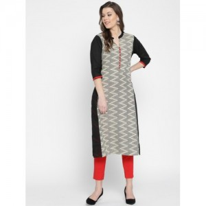 Shree Black Printed Straight Kurta