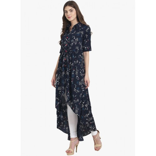Nayo Navy Blue Printed Tail Cut Kurta