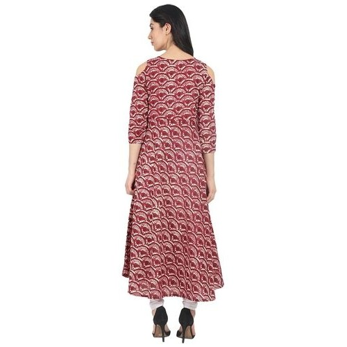 Nayo Red Printed Cold Shoulder Kurta