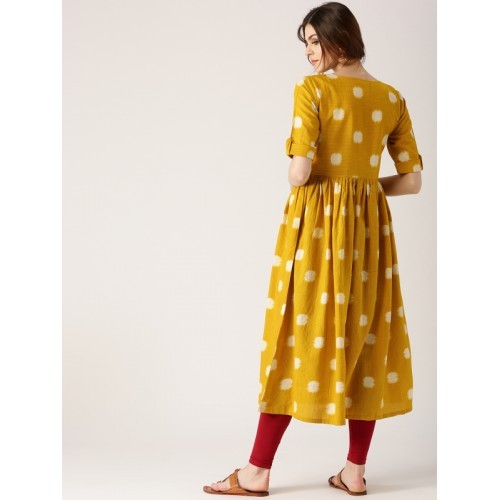 Libas Mustard Yellow Printed Kurta
