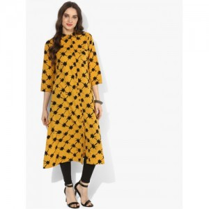 Sangria Women Mustard & Black Printed A-Line Kurta