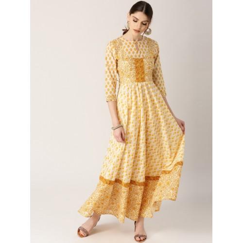 Libas yellow cotton blend Printed Anarkali Kurta