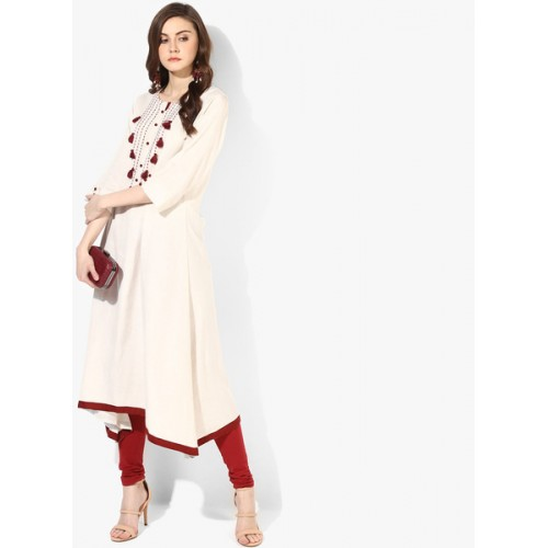 Shree Off White Solid Kurta