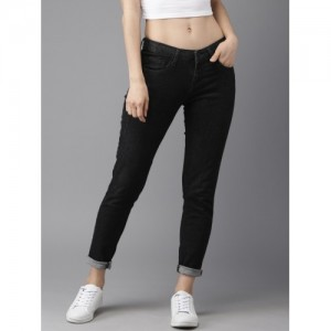 d8d24a92 HERE&NOW Women Black Slim Fit Low-Rise Clean Look Stretchable Jeans