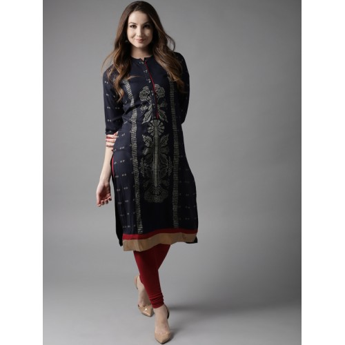 HERE&NOW Women Navy Blue Printed Straight Kurta