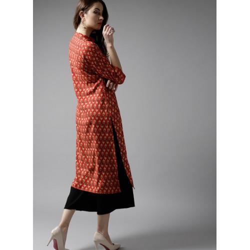 HERE&NOW Women Red & Beige Printed Straight Kurta