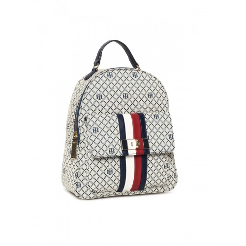a85ff259b3 Buy Tommy Hilfiger Women Beige   Navy Blue Textured Backpack online ...