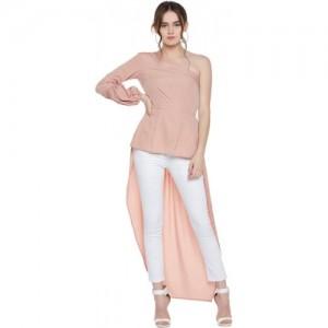Popnetic Casual Bishop Sleeve Solid Women Pink Top