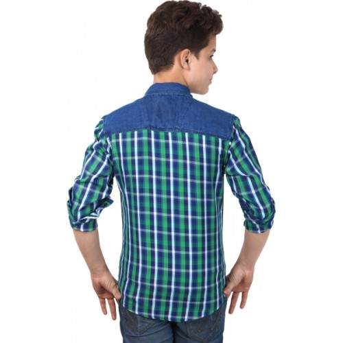 Anry Boys Checkered Casual Ribbed Collar Shirt