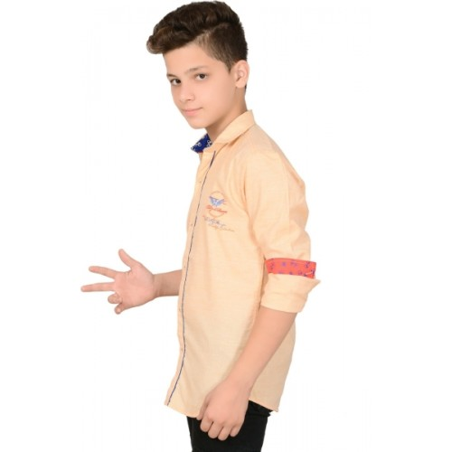 Anry Boys Solid Casual Ribbed Collar Shirt