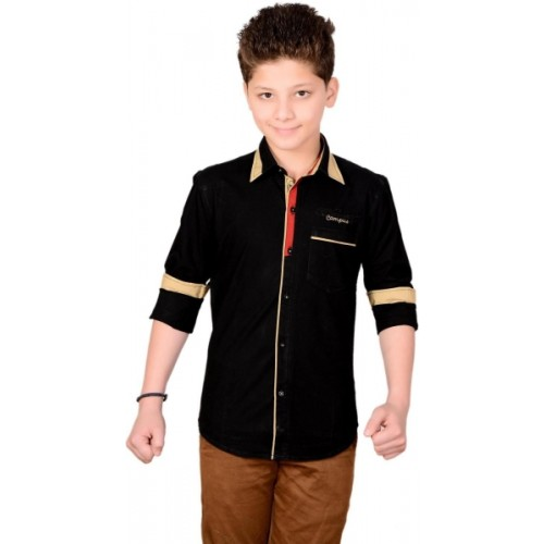Anry Boys Solid Casual Point Collar Shirt