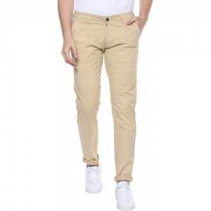 Urbano Fashion Slim Fit Men's Cream Trousers