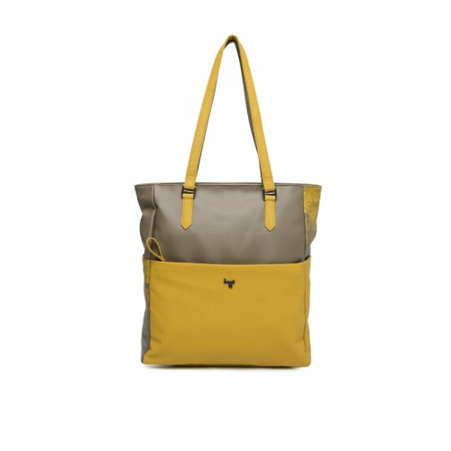 Baggit Taupe & Mustard Yellow Colourblocked Shoulder Bag