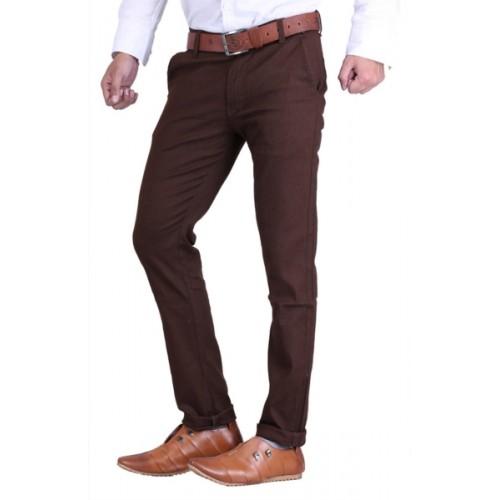 Ansh Fashion Wear Regular Fit Men's Brown Trousers