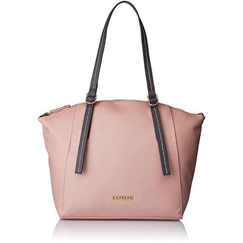 Caprese Pink Polyurethane Plain Handbag